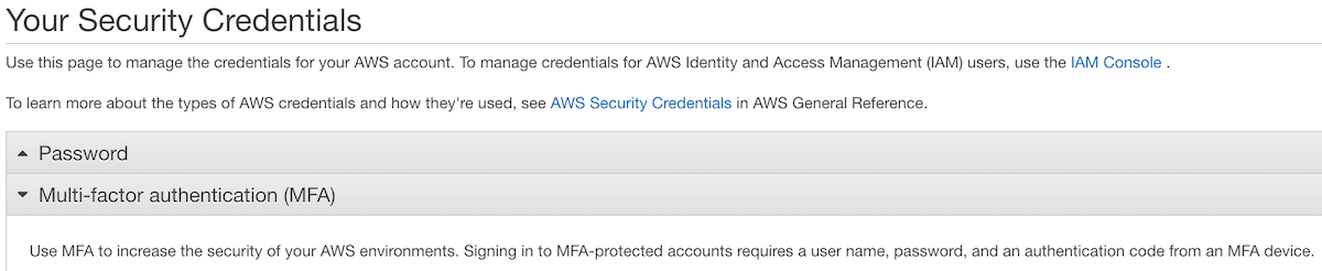 MFA section in root credentials screen