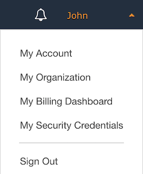Security Credentials in the navigation menu